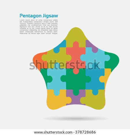 Pentagon shape made up of colorful jigsaw pieces-for multiple uses