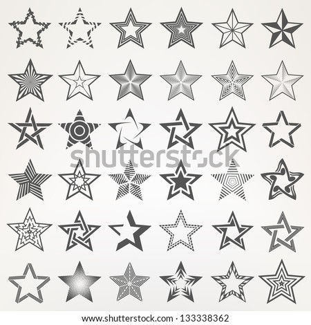 Pentagonal five point star collection of thirty six emblem icon design elements, eps10 vector template set - stock vector