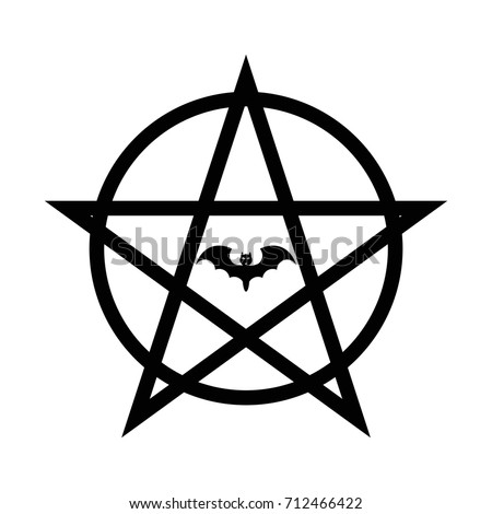 Pentagram Satan Vector Black Icon On Stock Vector 712466422