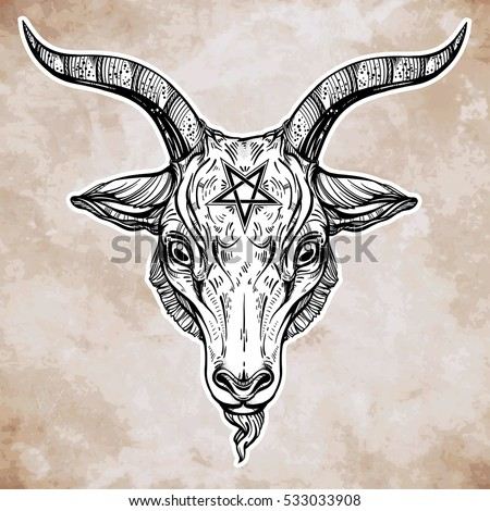 Pentagram Demon Baphomet Satanic Goat Head Stock Vector Hd Royalty