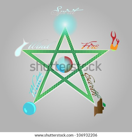 Pentagram with the five elements on abstract background - stock vector