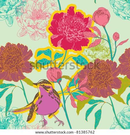 Peonies  flowers and bird - stock vector