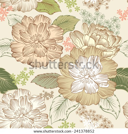 Peonies, seamless pattern - stock vector