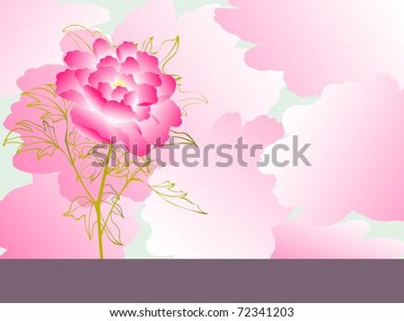 peony flower background - stock vector