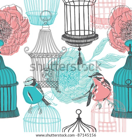 peony flowers birds and cages - stock vector