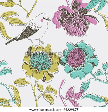 peony flowers with bird. seamless pattern - stock vector