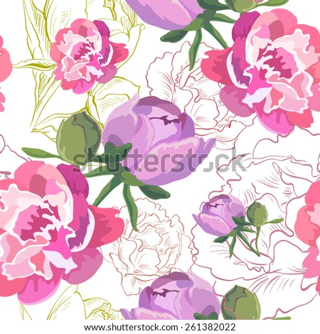 Peony ornament pattern backgrounds, vector illustration - stock vector