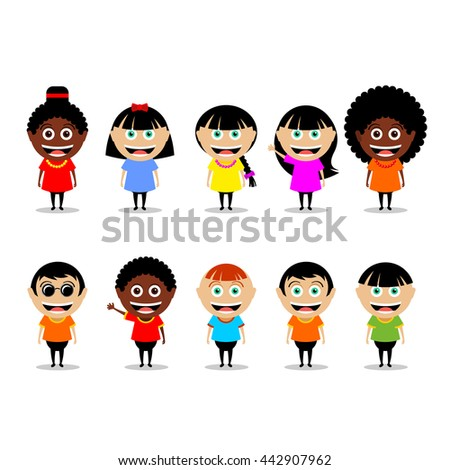 People, a set of vector characters. Girls and boys, African Americans and Europeans isolated on white background.