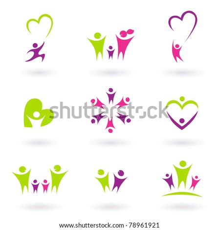 People abstract icons isolated on white. Vector Illustration. - stock vector