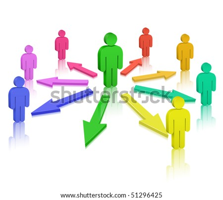 People and colored arrows. Social Media. Communication Concept. - stock vector