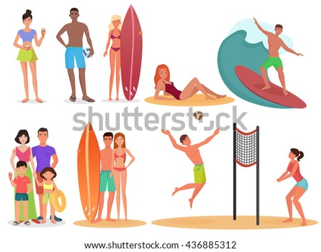 People and couples on active sport vacation beach collection. Summer holidays set. Beach people fun holidays, people couples on the beach activity, summer people on the sea beach relaxing - stock vector