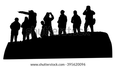 People and couples traveling and having a rest. Group of tourist on the top of the hill vector silhouette illustration isolated. Hikers with backpacks enjoying valley view from top of a mountain. - stock vector