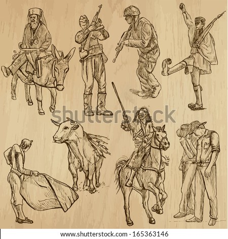 People and customs around the World (set no.14). Collection of hand drawn illustrations (originals, no tracing). Each drawing comprises of two layers of outlines,the colored background is isolated. - stock vector