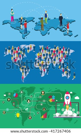 People and icons on  a earth planet map. Set of vector illustration. - stock vector