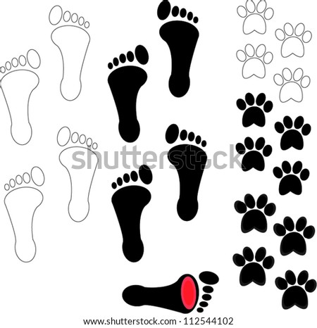 People and pet footsteps and foot with pain - stock vector