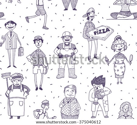 People and professions vector drawn characters seamless pattern on white background