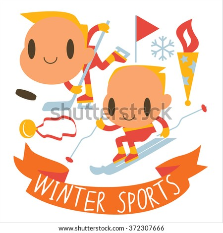 people and winter sports activities: ski, skate, sled and others. Winter competitions: Ice Hockey and Alpine Skiing - stock vector