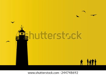 People are at the sunset with a lighthouse - stock vector
