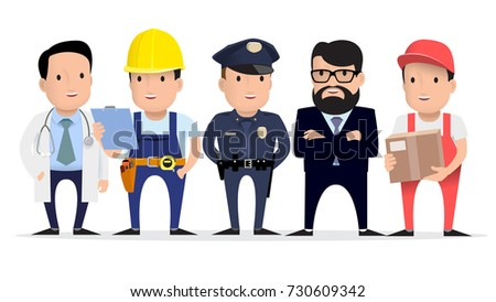 People are different professions. Labor Day. Doctor, builder, policeman, teacher, courier. Flat style. Vector illustration
