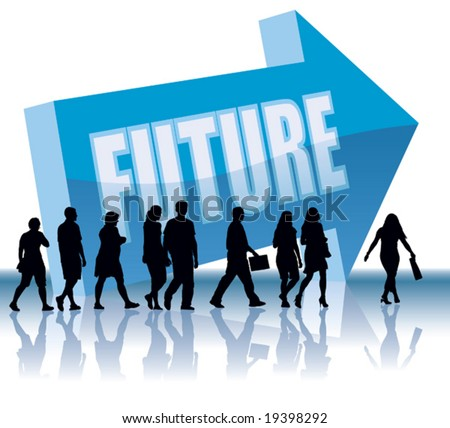 People are going to a direction - Future. - stock vector
