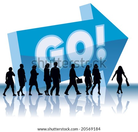 People are going to a direction - Go. - stock vector