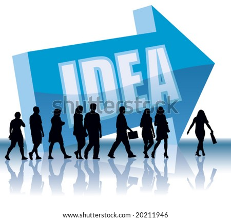 People are going to a direction - Idea. - stock vector
