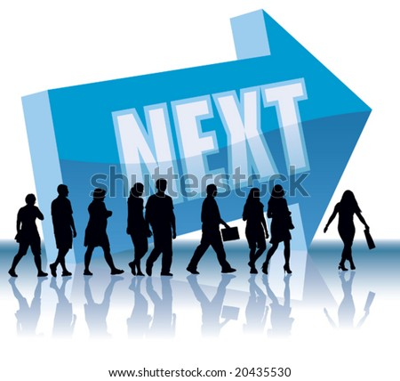 People are going to a direction - Next. - stock vector