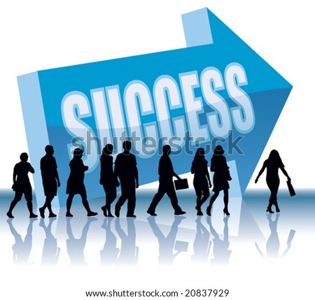People are going to a direction - Success. - stock vector