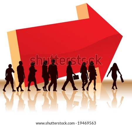 People are going to a direction with a big red arrow. - stock vector