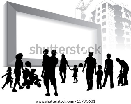 People are going to a large blank billboard. - stock vector