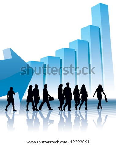 People are going to a large graph, conceptual business illustration. - stock vector
