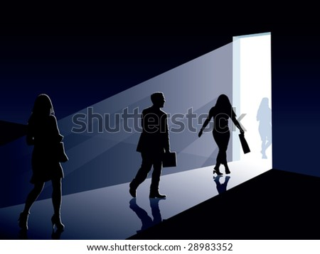People are going to an open door, conceptual business illustration.