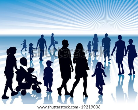 People are going to meet their destiny - stock vector