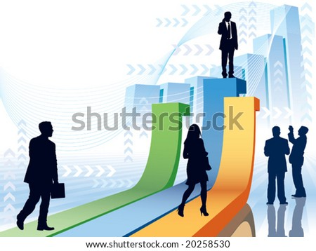 People are going to take their position, conceptual business illustration.