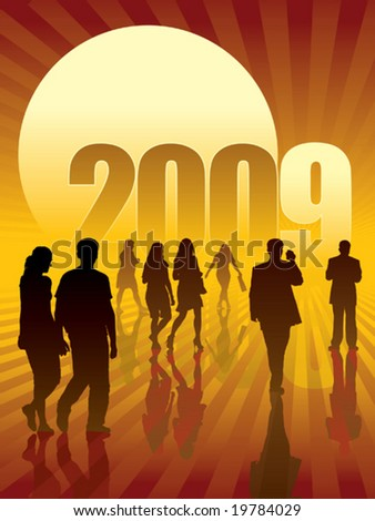 People are going to the sun and the New Year 2009. - stock vector