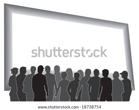 People are looking at a large blank billboard. - stock vector