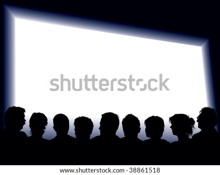 People are looking at a large blank display. - stock vector