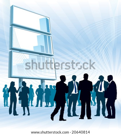 People are standing in front of a large billboard. - stock vector