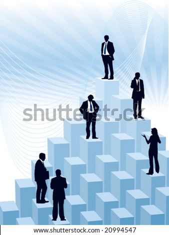 People are standing on a large graph, conceptual business illustration.
