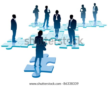 People are standing on pieces of jigsaw puzzle. - stock vector
