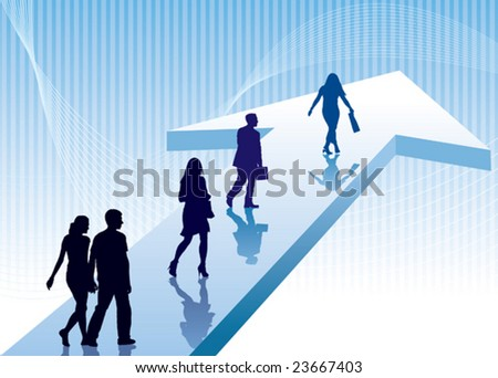 People are walking on a direction sign, conceptual business illustration. - stock vector