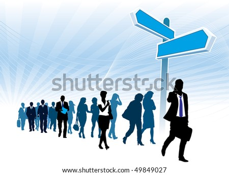 People are walking past large high direction sign. - stock vector