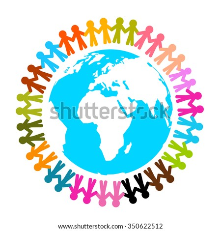 People Around Earth - Globe Vector Flat Design Illustration Isolated on White Background - stock vector