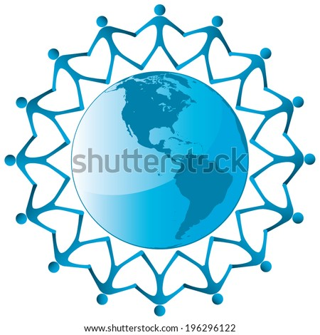 People around globe vector icon  - stock vector