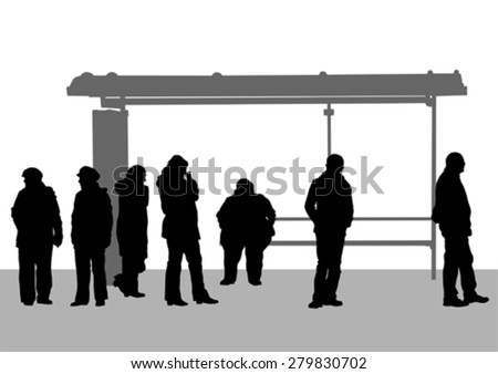 People at bus stop on white background - stock vector