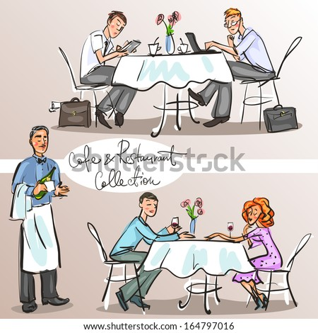 People at cafe and restaurant - Hand drawn Collection. Colorful version, part 3 - stock vector