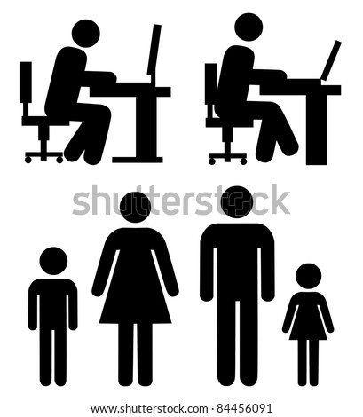 People at work, family - vector pictogram. Simple black silhouettes isolated on a white background. - stock vector