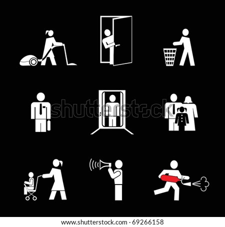 People at work. Set of simple vector icons. White on black. Woman vacuuming the floor. Man opened the door, throws trash. Man in an elevator. Fire extinguisher. Woman with a pram. - stock vector