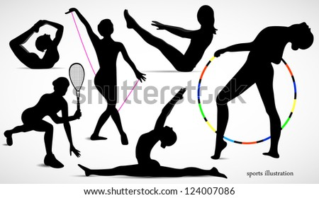 People athletes. Women silhouettes on white background. vector.