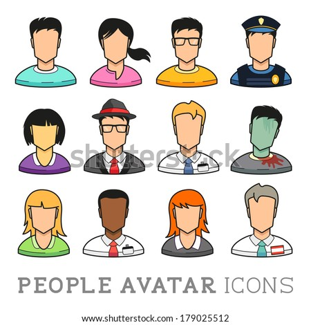 People Avatar Icons. from casual people to business people. Vector illustration set. - stock vector